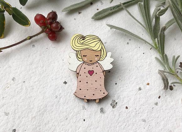 Dřevěná brož anděl / holčička