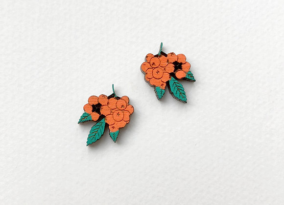 Náušnice oranžové jeřabiny