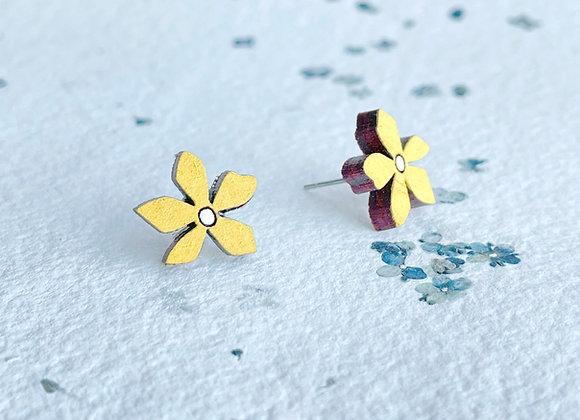 Květinové náušnice / žlutá