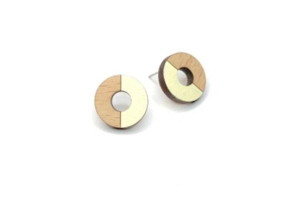 Náušnice kruhy dřevěná/krémová