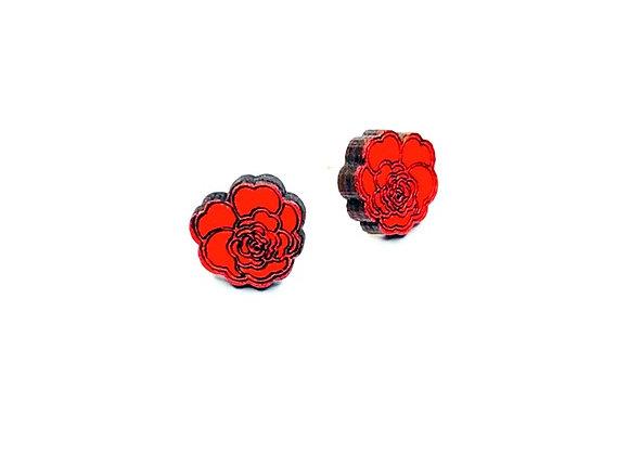 Náušnice kamélie červené