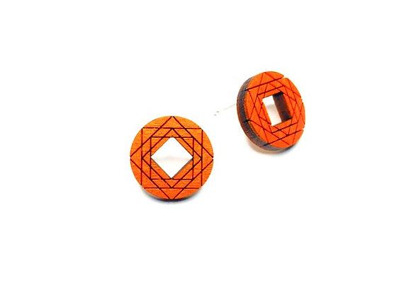 Náušnice kruhy s motivem oranžová