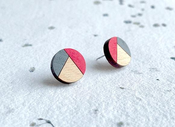 Dřevěné náušnice kulaté červená/šedá