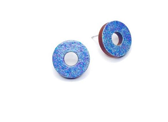 Náušnice kruhy modrá třpytivá