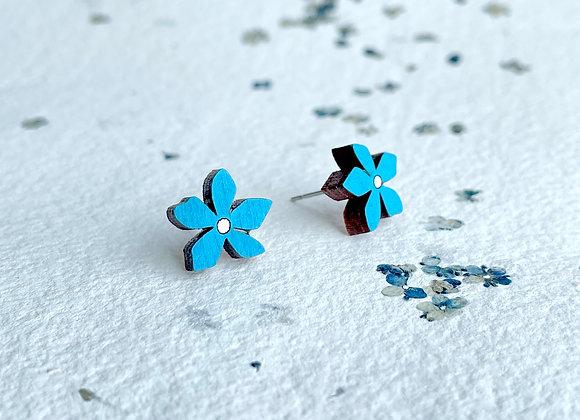 Květinové náušnice / modrá