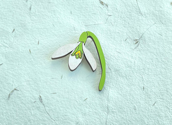 Dřevěná brož jarní sněženka