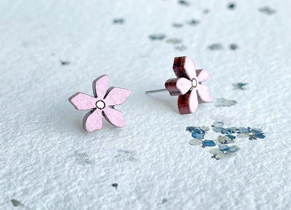 Květinové náušnice / pastelová růžová