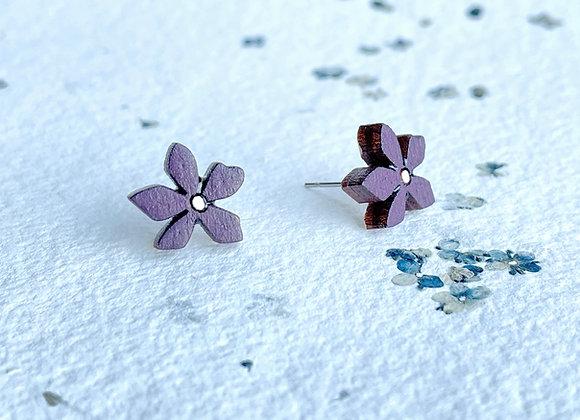 Květinové náušnice / fialová