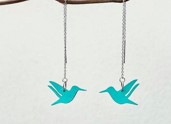 Náušnice kolibříci na řetízku