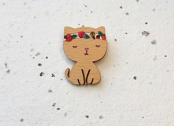 Brož kočička s čelenkou