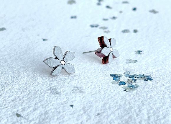 Květinové náušnice / šedá