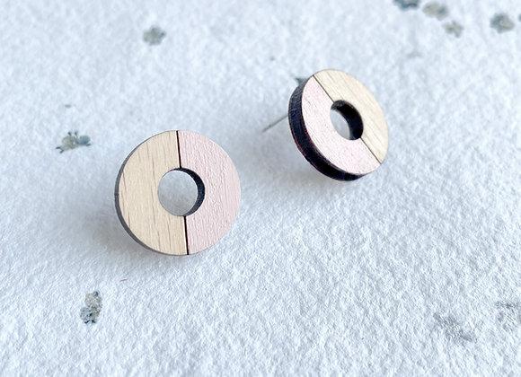 Dřevěné náušnice kruhy tělová růžová