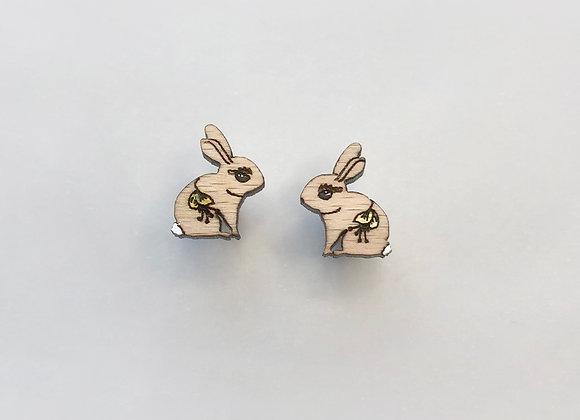 Dřevěné náušnice králíčci