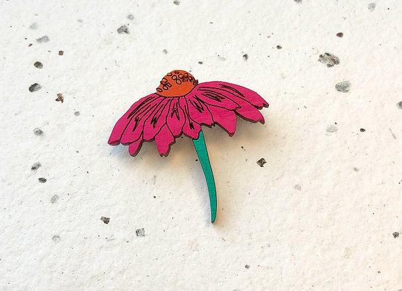 Dřevěná brož echinacea / třapatka nachová