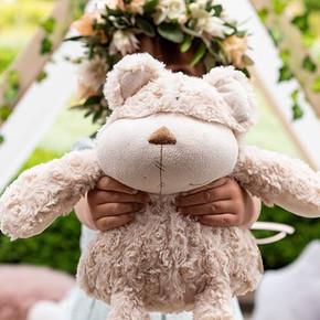 Every flower girl needs a teddy bear and