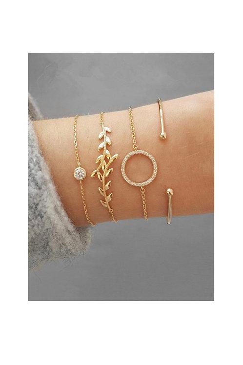Rhinestone Leaf Bracelet Set