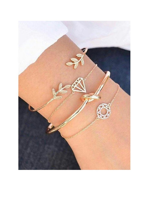 Leaf Knot Cuff Bracelet Set