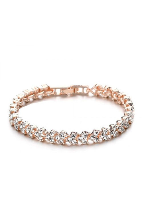 Heart-Shaped Diamond Bracelet - Rose Gold