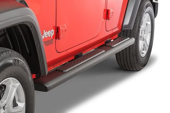 JL Tubular Side Steps - 4-Door Black Aluminium