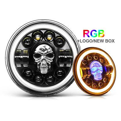 "7"" RGB LED SKULL Projector Headlight"