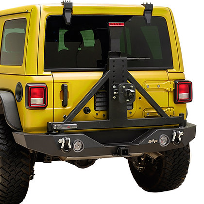 Paramount JL Full Width LED Rear Bumper with Tire Carrier, Backup Camera Tire
