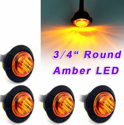 3/4 inch Amber Color LED Marker Lights -pair