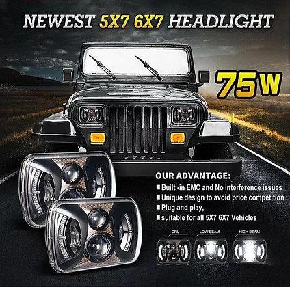 5X7inch 75W LED Headlight Halo Amber DRL- Pair