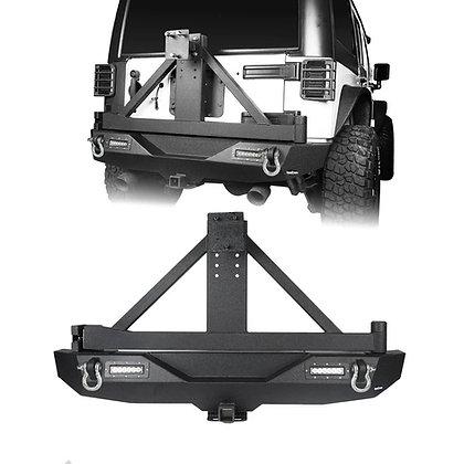 Longhorn JK Short Rear LED Bumper w/ Tow Bar and Tire Carrier