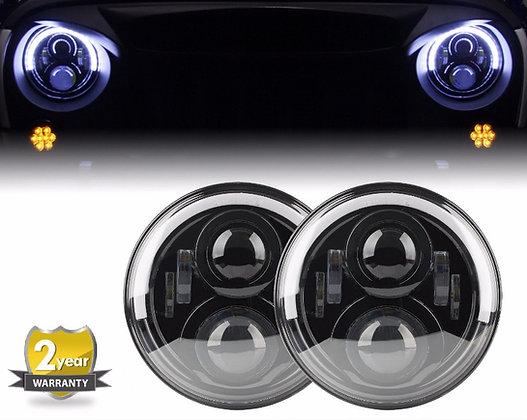 Half Halo Headlight Lamp w/ DRL+Flicker -120W/pair