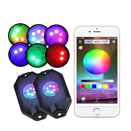 Hi-Bright 4-pod RGB Led Rock Light