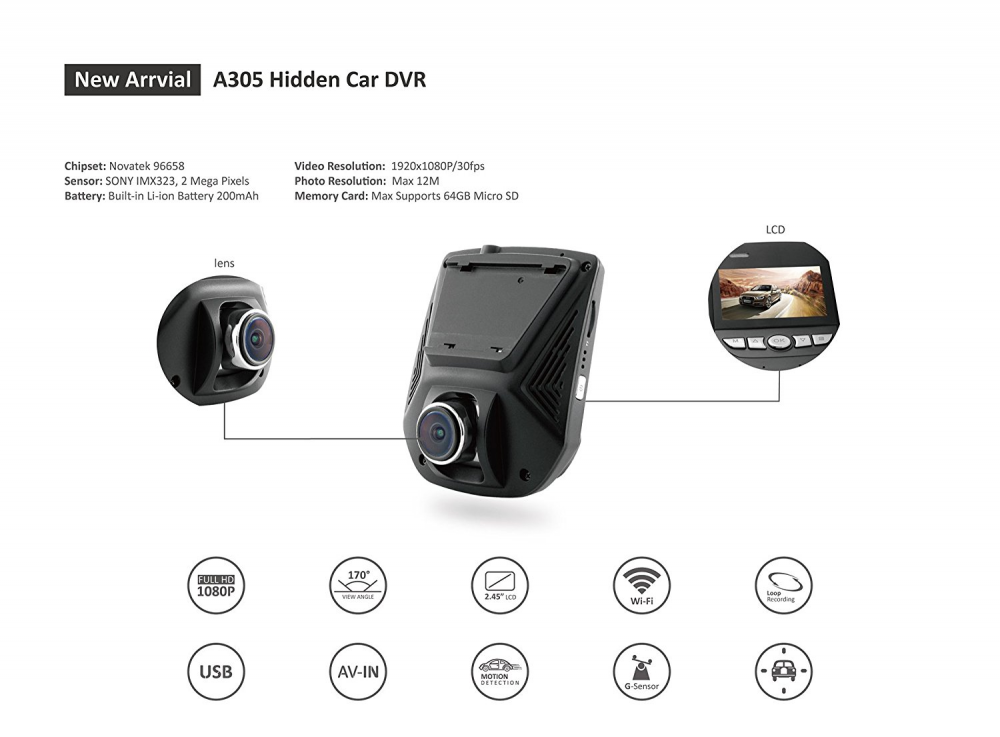 A305 FHD 1080P WiFi Hidden Dashcam
