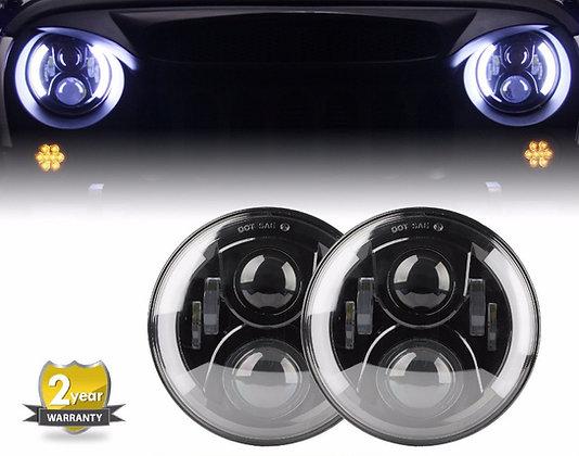 Side Halo Headlight Lamp w/ DRL+Flicker -120W/pair