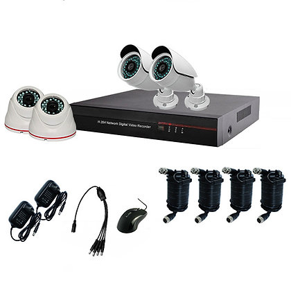 720p IR Waterproof Dome AHD Camera with 4CH DVR