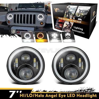 Full Halo Headlight Lamp w/ DRL+Flicker -120W/pair