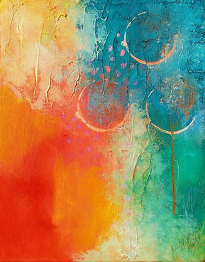 Three Moons 11x14 mixed media abstract by Kelly Jeanette Swift
