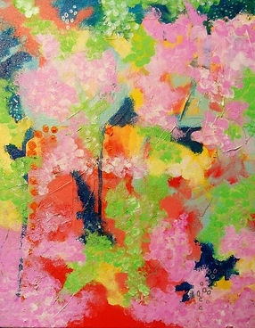 Cherry Blossoms 11x14 mixed media abstract by Kelly Jeanette Swift