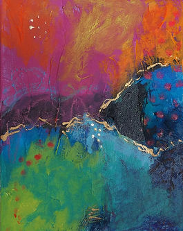 Just a Thought Before I Go-8x10 mixed media abstract by Kelly Jeanette Swift