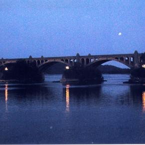 The piers alight.