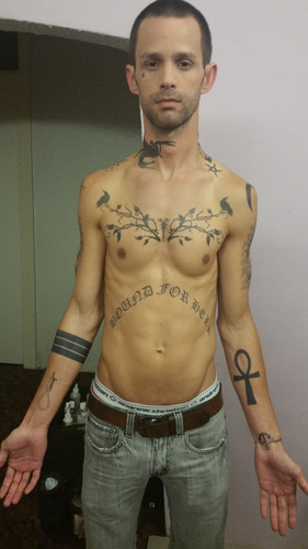 """Tattoos made and applied for """"A Very Sordid Wedding.""""  Assisted by Andy Arrasmith and Evan Clinton."""