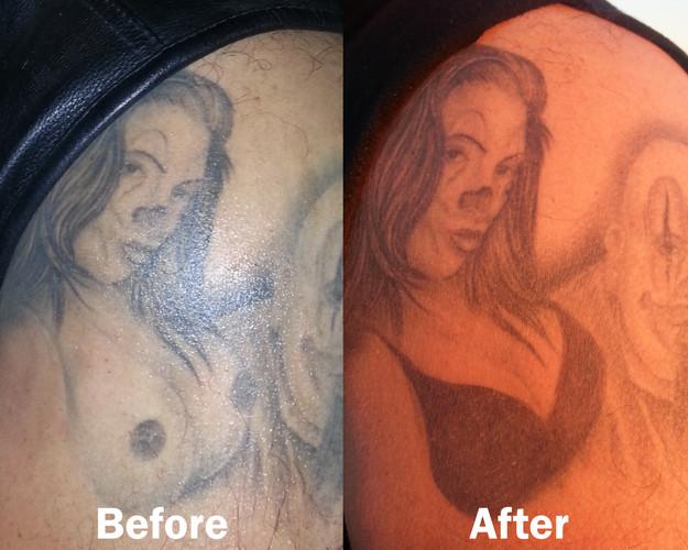 Hand-painted temporary tattoo bra to make the original (real) tattoo PG.