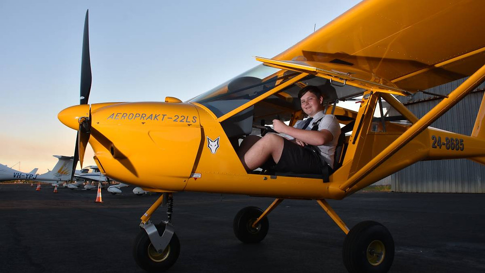 Alex McGee, youngest student pilot to go first solo