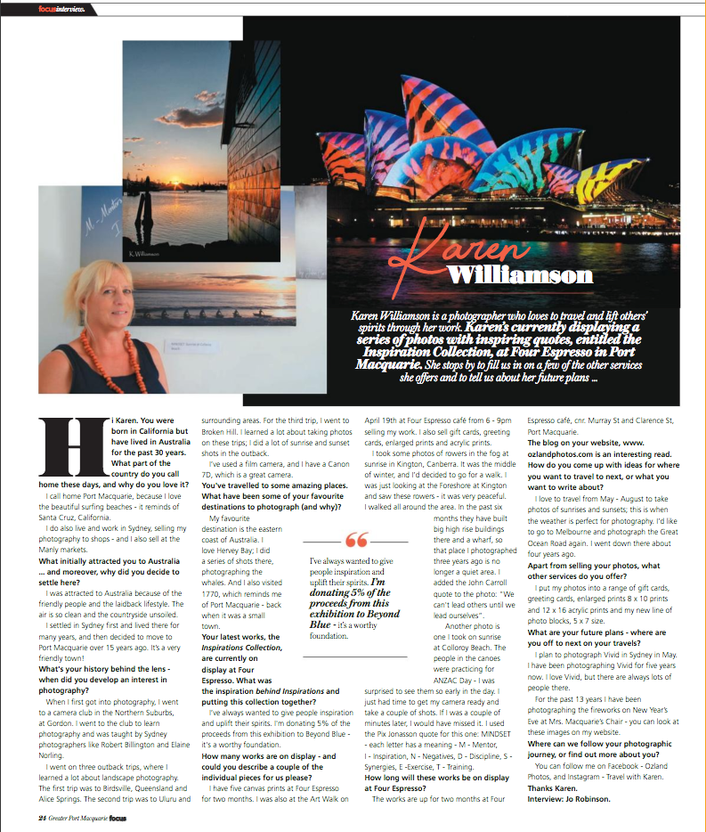 I'm in the news! Here's Karen Williamson of OZ Land Photos feature on Greater Port Macquarie Focus Magazine May 2018 issue.