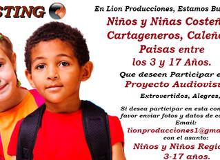 Niños y Niñas Costeños, Cartageneros, Caleños, Paisas entre los 3 y 17 Años.
