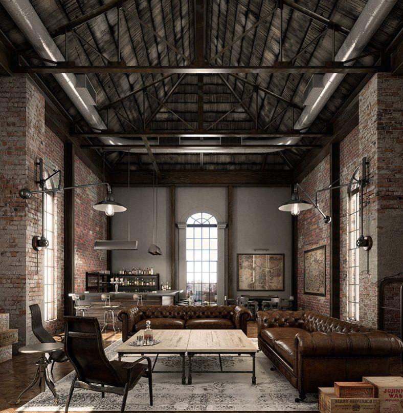 loft, rustic, ahsap, metal, konsept, mimari