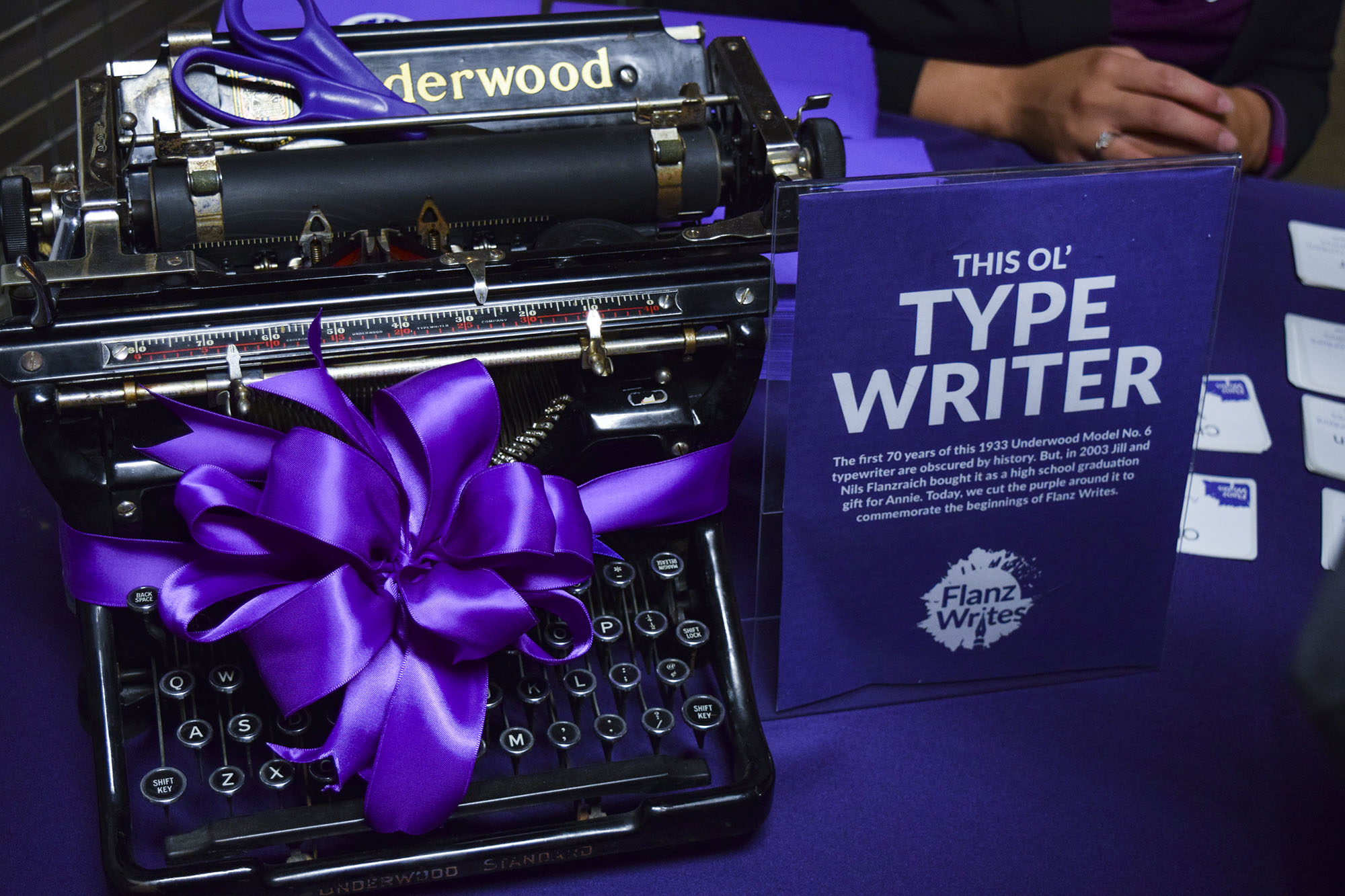Flanz Writes Launch Party Typewriter
