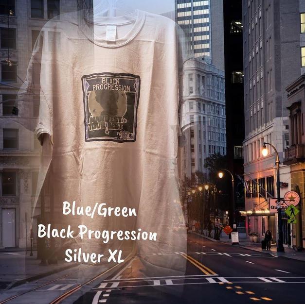 $20 UNISEX blue/green Black progression silver XL