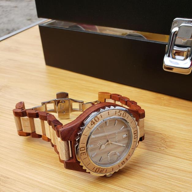 $55 (men) rust/tan genuine wood wristwatch