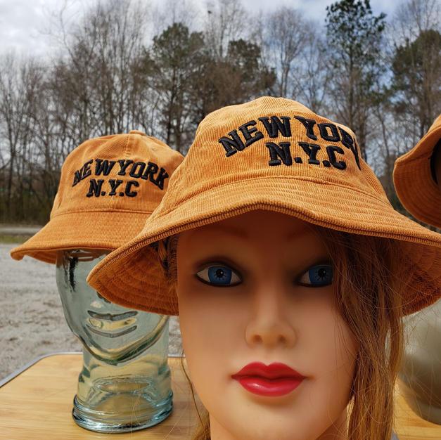 $50 UNISEX orange corduroy NYC bucket hat