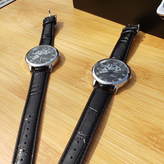 $45 black see through tick tock watch