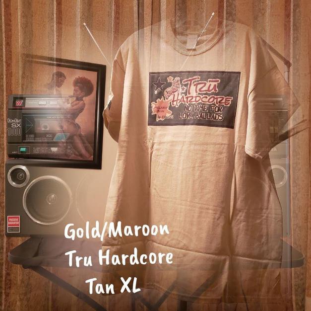 $20 gold/maroon Tru Hardcore tan XL